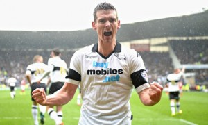 Derby County's Craig Bryson celebrates scoring against Nottingham Forest in the Championship